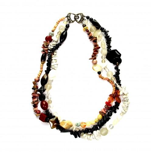 Exklusive Schmuckkette aus Achat, Bergkristall, Jaspis, Rhodonit, diverse Formen, 6 mm - 18 mm, Länge 46 cm