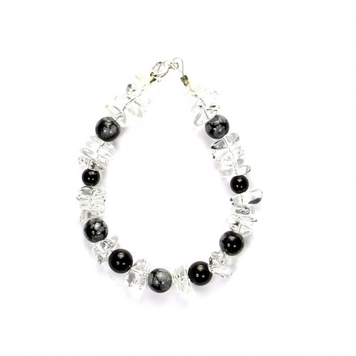Armband aus Bergkristall, Falkenauge, Obsidian, Kugeln und barock, 8 mm, Länge 19 cm