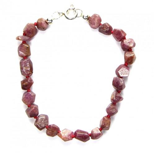 Bracelet aus Rubin, facettiert, 6 mm - 10 mm, Länge 18 cm