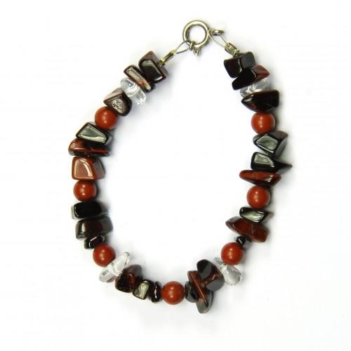 Bracelet aus Tigerauge, Bergkristall, roter Jaspis, 6 mm - 10 mm, Länge 18 cm
